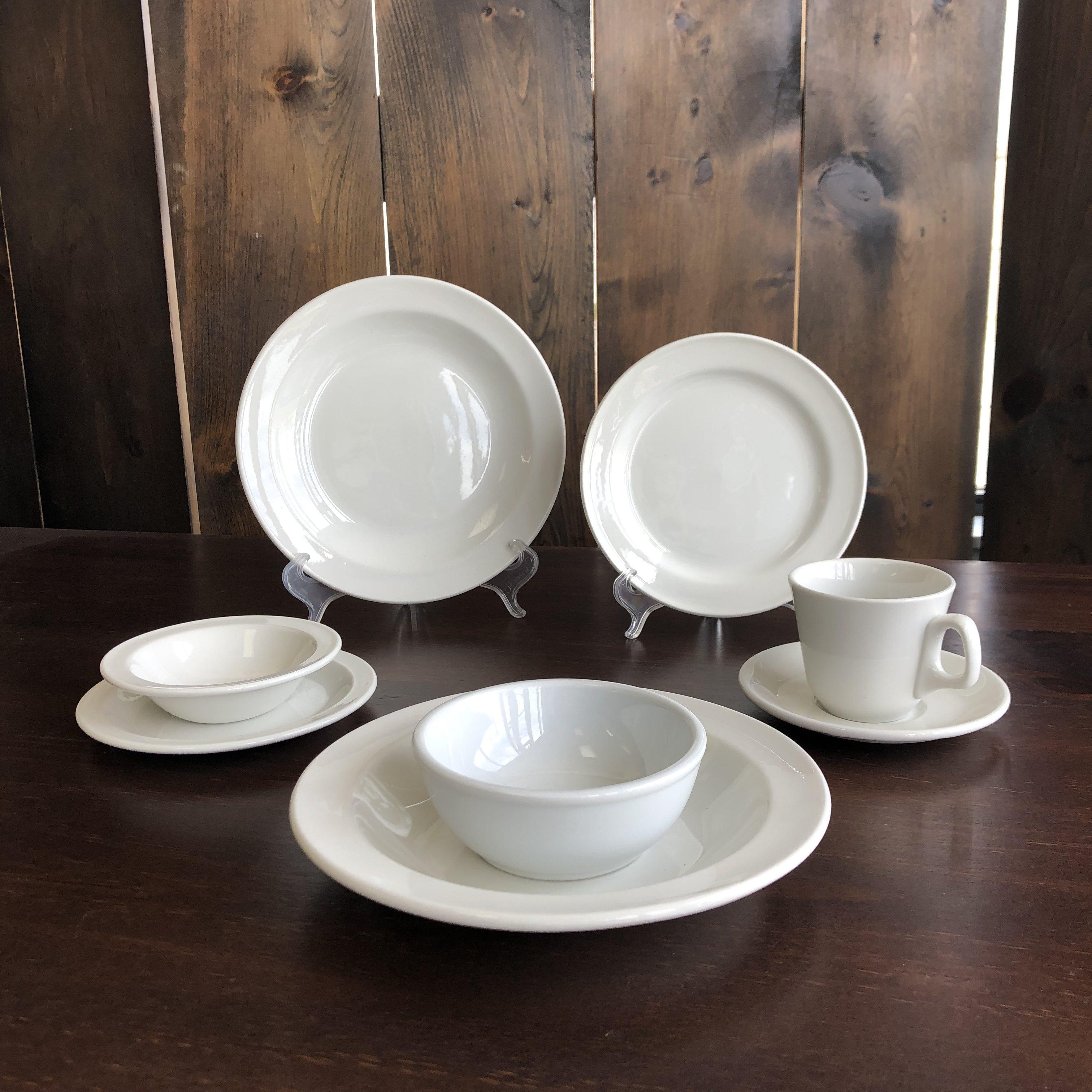 White Stoneware Dish Setting Image