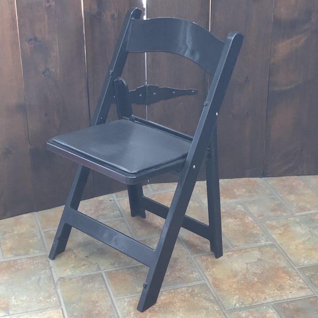 Black Padded Folding Chair Image